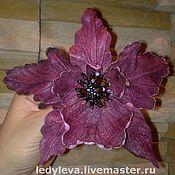 Украшения ручной работы. Ярмарка Мастеров - ручная работа орхидея №2 - брошь из кожи и агата. Handmade.