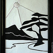 """Картины и панно ручной работы. Ярмарка Мастеров - ручная работа картина из кожи """" Японский пейзаж"""". Handmade."""