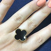 Украшения handmade. Livemaster - original item Clover gold. 585 gold ring with onyx. Handmade.