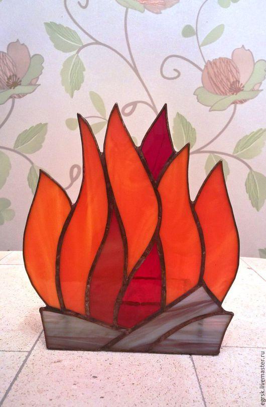 """Подсвечники ручной работы. Ярмарка Мастеров - ручная работа. Купить Подсвечник из стекла """"Костер"""" тиффани. Handmade. Оранжевый, тиффани"""
