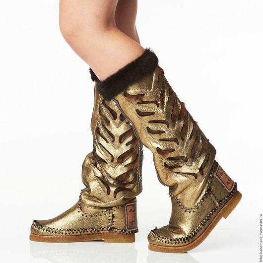 Обувь ручной работы. Ярмарка Мастеров - ручная работа. Купить Зимние сапоги на овчинеINDIANINI DOG / золотые/37 в наличие. Handmade.