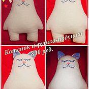 Куклы и игрушки ручной работы. Ярмарка Мастеров - ручная работа Котёнок игрушка-подушка. Handmade.