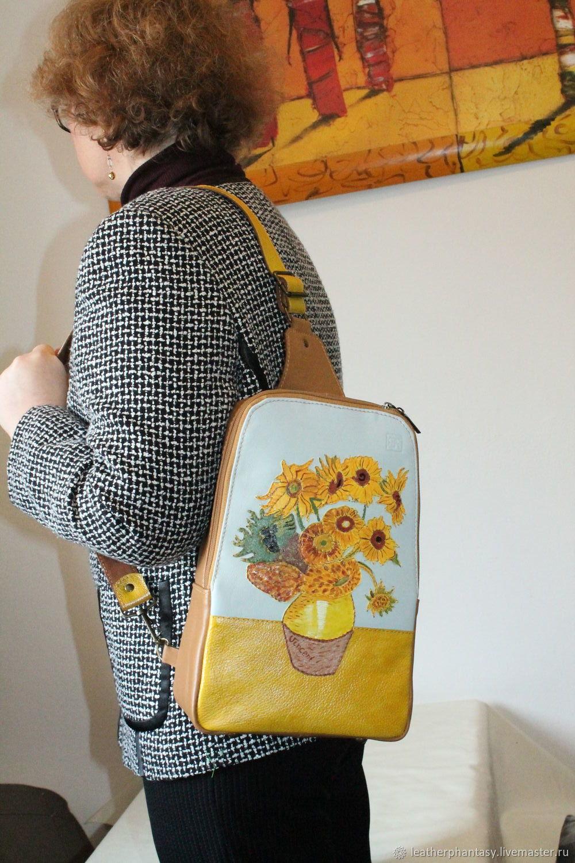Женский кожаный рюкзак  желтый Ван Гог. Подсолнухи, Рюкзаки, Болонья,  Фото №1
