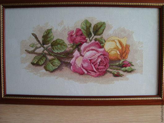 Картины цветов ручной работы. Ярмарка Мастеров - ручная работа. Купить Срезанные Розы. Handmade. Разноцветный, картина в подарок, цветы