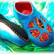 """Обувь ручной работы. Ярмарка Мастеров - ручная работа Валяные женские тапочки """"ТРОПИКИ"""". Handmade."""