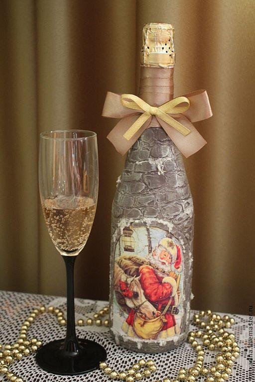 """Новый год 2017 ручной работы. Ярмарка Мастеров - ручная работа. Купить Новогодняя бутылка """"Санта"""". Handmade. Серый, краски акриловые"""