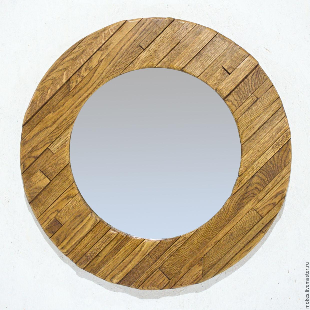 круглое настенное зеркало в раме из дуба заказать на ярмарке мастеров Alp9nru зеркала москва