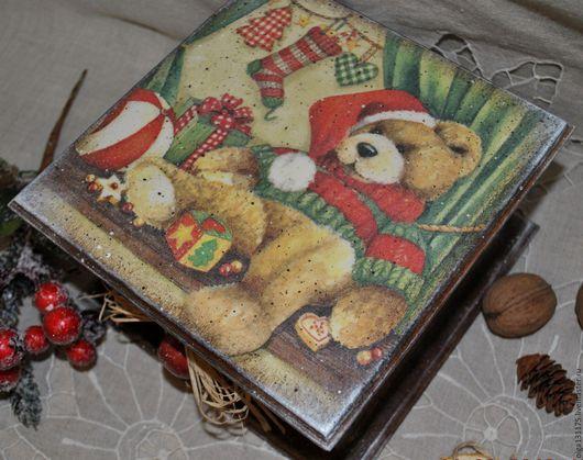 """Корзины, коробы ручной работы. Ярмарка Мастеров - ручная работа. Купить Короб-пенал для хранения """" В ожидании Нового года"""". Handmade."""