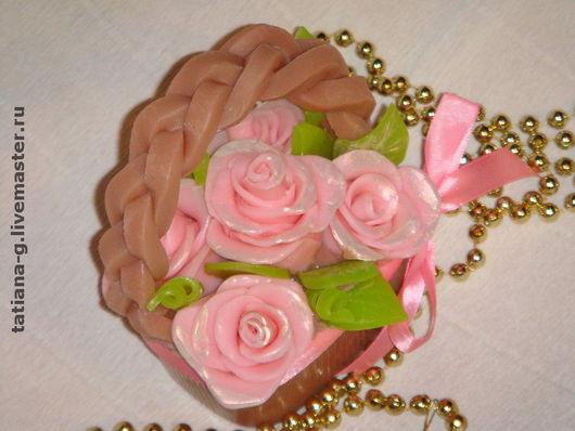 """Мыло ручной работы. Ярмарка Мастеров - ручная работа. Купить Мыло ручной работы """"Корзина с розами"""". Handmade. Корзина с цветами"""