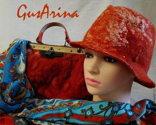"""Саквояж  """"Оранжевый хит"""". В комплект можно сделать шляпу. Стоимость шляпы 40 $ Дополняет образ итальянский шерстяной палантин. Мимо Вас не пройдут! GusArina"""
