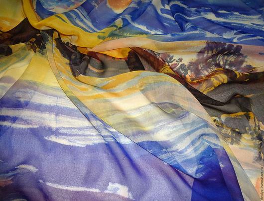 Шали, палантины ручной работы. Ярмарка Мастеров - ручная работа. Купить Батик платок «Вечер». Handmade. Шелк, шелковый шарф