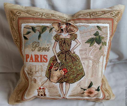Текстиль, ковры ручной работы. Ярмарка Мастеров - ручная работа. Купить БАГЕТ ПАРИЖ: чехол гобеленовый на подушку, 45-45 см. Handmade.