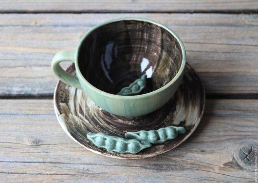 """Сервизы, чайные пары ручной работы. Ярмарка Мастеров - ручная работа. Купить Чайная пара """"Зеленый горошек"""" №3. Handmade."""