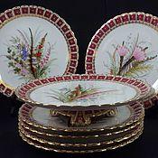 Антиквариат, Royal Worcester, десертный набор, 1876 год