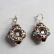 Украшения handmade. Livemaster - original item Byzantine style cross earrings Beadwork Gothic cross earrings. Handmade.