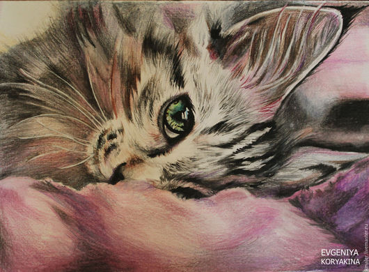 """Животные ручной работы. Ярмарка Мастеров - ручная работа. Купить """"Уют"""". Handmade. Сиреневый, кошка, кот, взгляд, Глаза, сон"""