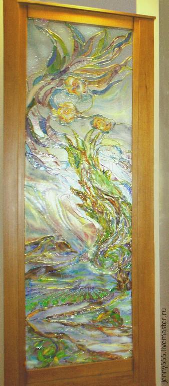 Элементы интерьера ручной работы. Ярмарка Мастеров - ручная работа. Купить Витраж в стиле Ван-Гога,витражная картина,витражная живопись. Handmade.
