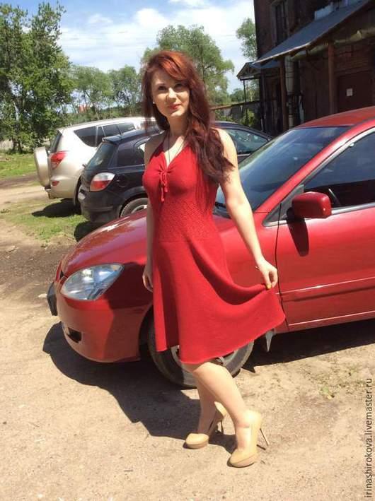 Платья ручной работы. Ярмарка Мастеров - ручная работа. Купить Вязаный сарафан РИГА. Handmade. Ярко-красный, коктельное платье