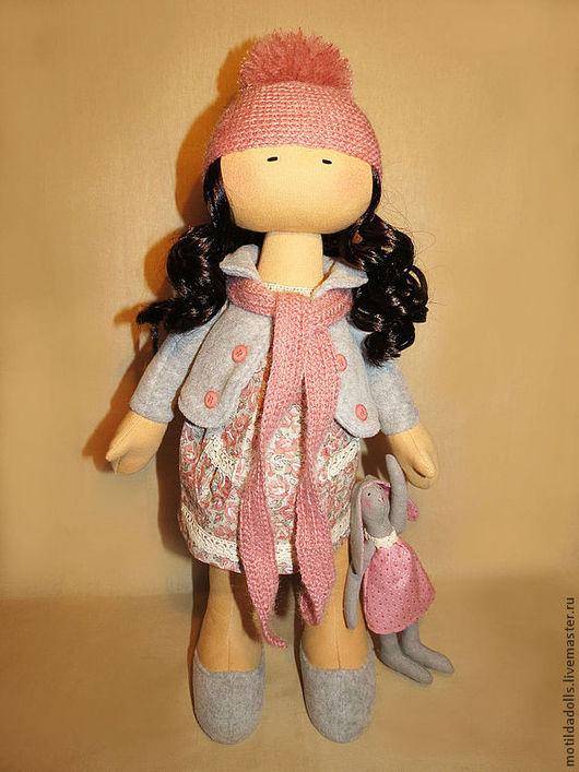 Человечки ручной работы. Ярмарка Мастеров - ручная работа. Купить Текстильная кукла ЭМИ. Handmade. Розовый, оригинальный подарок, лён