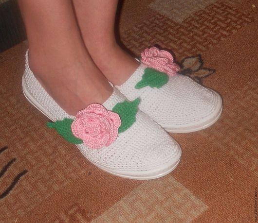 Обувь ручной работы. Ярмарка Мастеров - ручная работа. Купить Балетки. Handmade. Белый, туфли женские, хлопок мерсеризованный
