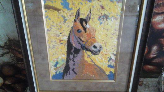 Животные ручной работы. Ярмарка Мастеров - ручная работа. Купить Картина крестиком. Лошадь. Handmade. Подарок, картина для интерьера, осень