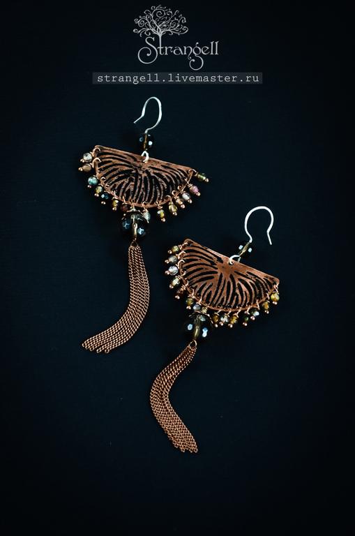 Cobre Boho pendientes largos pendientes con borlas Rauchtopaz ágata, Tassel earrings, Ulan-Ude,  Фото №1