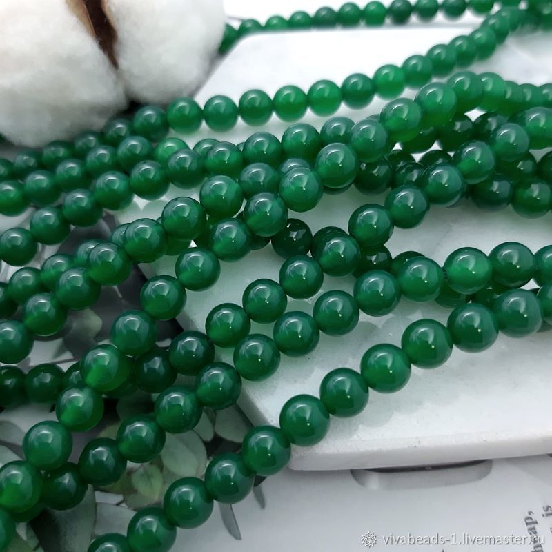 10 PCs. Agate is green of toirov. 6 mm smooth ball (4783), Beads1, Voronezh,  Фото №1