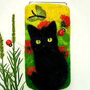 Сумки и аксессуары handmade. Livemaster - original item Cover for your cat and Poppies case for cell phone case felted wool. Handmade.