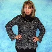 Джемперы ручной работы. Ярмарка Мастеров - ручная работа Серебристо-чёрная женская кофта из козьего пуха,Вязаная блуза,Джемпер. Handmade.