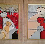 """Для дома и интерьера ручной работы. Ярмарка Мастеров - ручная работа Диптих """"Кошачья семья"""". Handmade."""