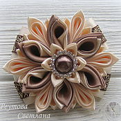Работы для детей, handmade. Livemaster - original item Scrunchie style kanzashi Coffee with milk. Handmade.