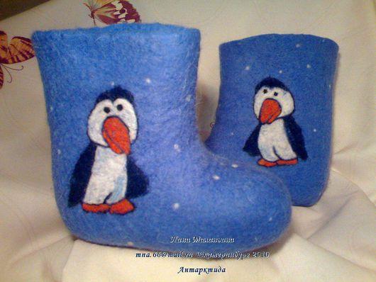 """Детская обувь ручной работы. Ярмарка Мастеров - ручная работа. Купить Валеночки """"Антарктида"""". Handmade. Рисунок, самокатки детские"""