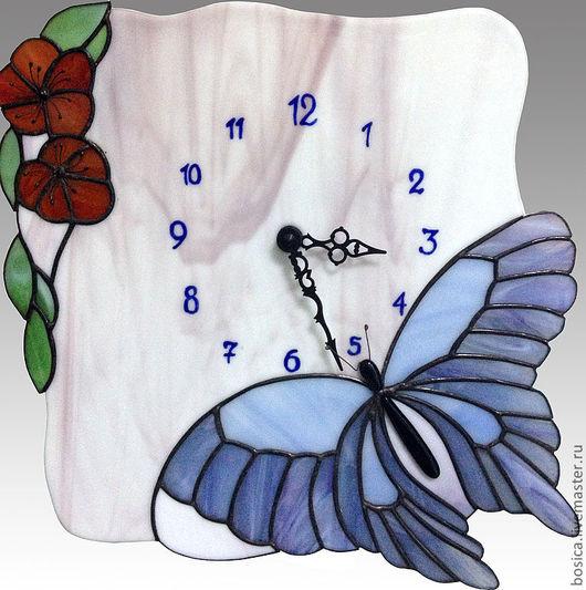"""Часы для дома ручной работы. Ярмарка Мастеров - ручная работа. Купить Часы тиффани """"Порхающая на цветах"""". Handmade. Часы"""