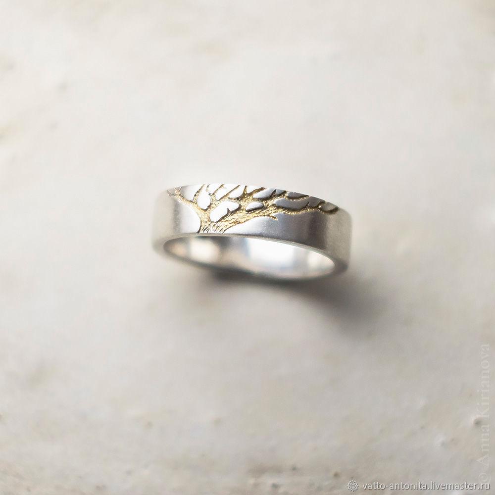 69091d8c68a2 Свадебные украшения ручной работы. Серебряные обручальные кольца Чёрное и  Золотое Древо (пара).