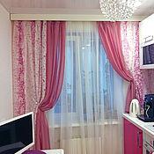 Для дома и интерьера ручной работы. Ярмарка Мастеров - ручная работа Легкие шторы для кухни из розовой органзы. Handmade.