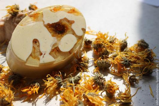 Мыло ручной работы. Ярмарка Мастеров - ручная работа. Купить Натуральное  мыло на отваре  календулы. Handmade. Бежевый