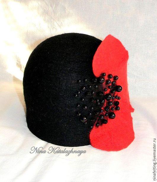 Шапки ручной работы. Ярмарка Мастеров - ручная работа. Купить Валяная шляпка Красный мак. Handmade. Маки, черно-красный