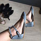 Обувь ручной работы. Ярмарка Мастеров - ручная работа Балетки Casual туфли серая гладкая кожа. Handmade.