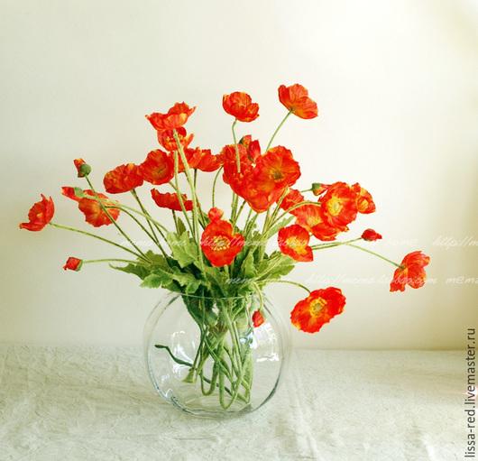 Другие виды рукоделия ручной работы. Ярмарка Мастеров - ручная работа. Купить Цветы  МАКИ из ткани на стебле  В НАЛИЧИИ 3цв. Handmade.