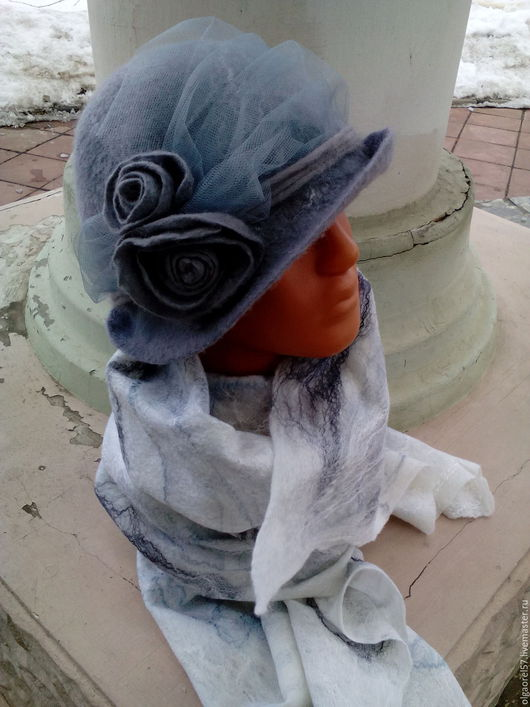 Шляпы ручной работы. Ярмарка Мастеров - ручная работа. Купить Шляпа валяная Серое утро. Handmade. Серый, волокна вискозы