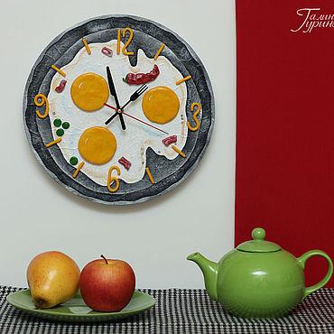 """Для дома и интерьера ручной работы. Ярмарка Мастеров - ручная работа Настенные часы """"Яичница"""" для кухни (круглые). Handmade."""