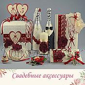 Наборы аксессуаров ручной работы. Ярмарка Мастеров - ручная работа Коллекция свадебных аксессуаров  марсала. Handmade.