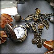 Часы-медальон ручной работы. Ярмарка Мастеров - ручная работа Часы-медальон, кулон с цитрином и лабрадором Бабочка. Handmade.