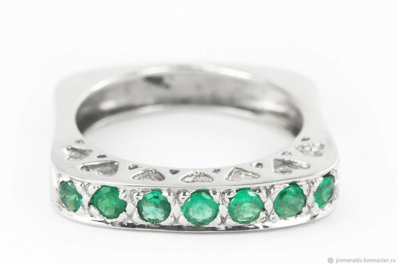0.89tcw Colombian Emerald & Geometric Square Gold Band 14k, Emerald Ri, Rings, West Palm Beach,  Фото №1