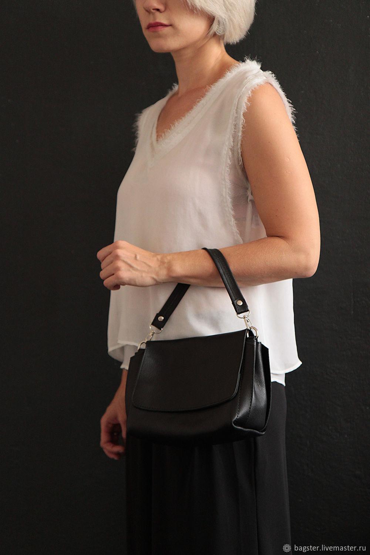 Женские сумки ручной работы. Ярмарка Мастеров - ручная работа. Купить Стильная чёрная сумка (натуральная кожа). Handmade. Сумка