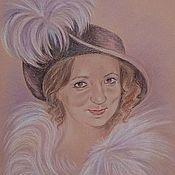 """Картины и панно ручной работы. Ярмарка Мастеров - ручная работа женский портрет """"Кокетка"""". Handmade."""