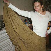 Одежда ручной работы. Ярмарка Мастеров - ручная работа распродажа юбка  с краш-эффектом оливка. Handmade.