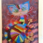 Картины и панно ручной работы. Ярмарка Мастеров - ручная работа Картина из шерсти Радужный кот. Handmade.