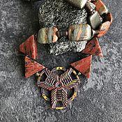 Украшения handmade. Livemaster - original item Necklace Alternative. Red jasper pyrite fittings A.Chernykh nanocoating. Handmade.