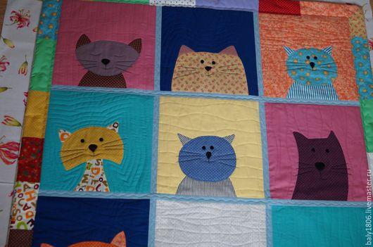 """Пледы и одеяла ручной работы. Ярмарка Мастеров - ручная работа. Купить Одеяло """"Мартовские коты"""". Handmade. Комбинированный, коты и кошки"""